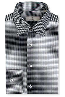 CANALI Ombre check single-cuff shirt