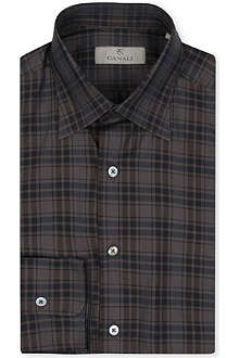 CANALI Modern-fit single-cuff check cotton shirt