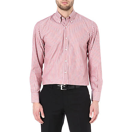 CANALI Striped button-down collar shirt (Burgundy
