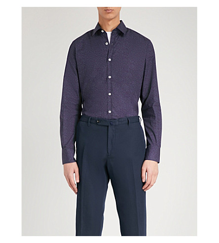 Purple Floral CANALI shirt cotton CANALI Floral fit regular print PEpT8qZw