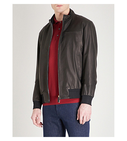 CANALI Leather bomber jacket (Black