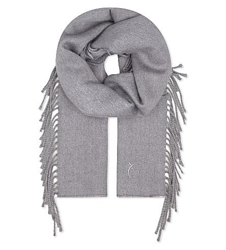 CANALI Tasselled wool scarf (Grey