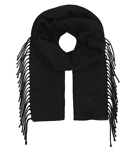 CANALI Tasselled wool scarf (Black