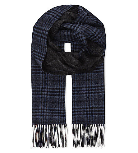 CANALI Prince of Wales check silk & cashmere scarf (Blue