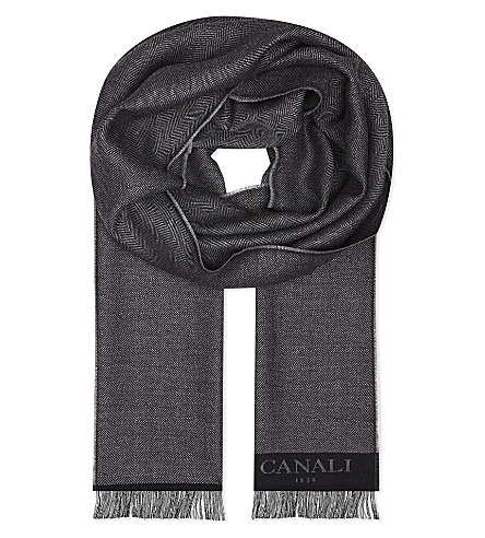 CANALI Herringbone wool scarf (Grey