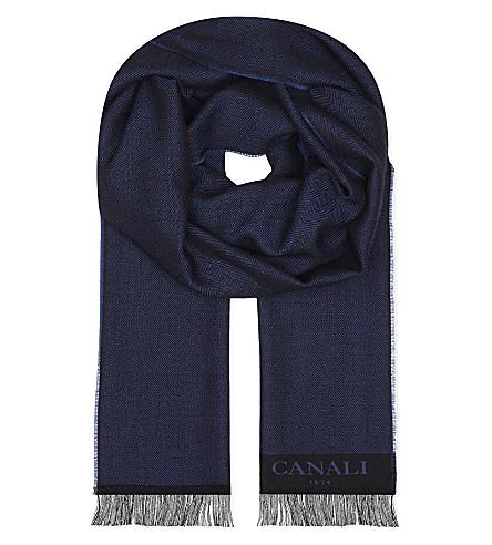 CANALI Herringbone wool scarf (Blue