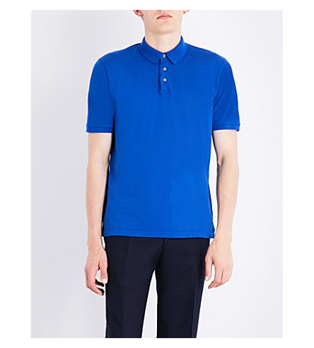 CANALI Stretch-cotton polo shirt (Blue