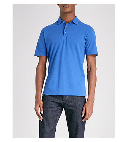 CANALI Marl-patterned cotton-piqué polo shirt (Blue