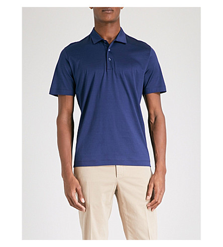 CANALI Marl-patterned cotton-jersey polo shirt (Navy