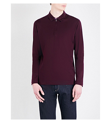 CANALI Zip-collar cotton-jersey top (Burgundy