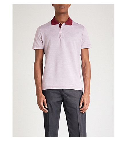 CANALI Two-tone cotton-piqué polo shirt (Red