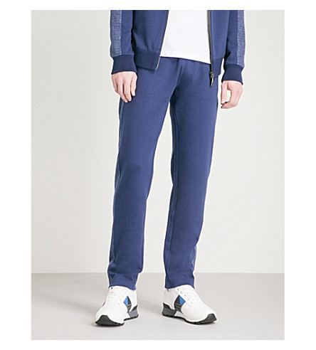 CANALI Contrast-panel stretch-cotton jogging bottoms (Navy