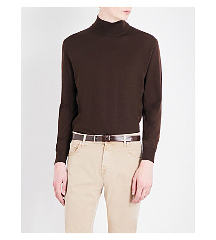CANALI Mock turtleneck wool jumper (Brown