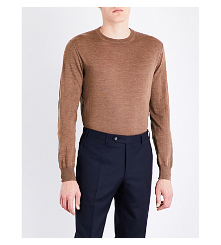 CANALI Crew-neck wool jumper (Camel