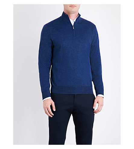 CANALI Fine-knit wool polo jumper (Blue