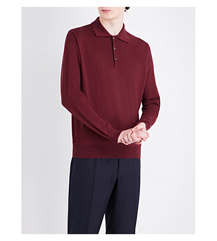 CANALI Polo wool jumper (Burgundy