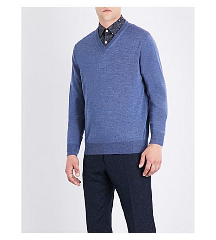 CANALI V-neck wool jumper (Blue