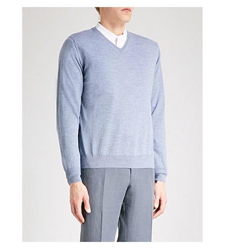 CANALI V-neck wool jumper (Light+blue