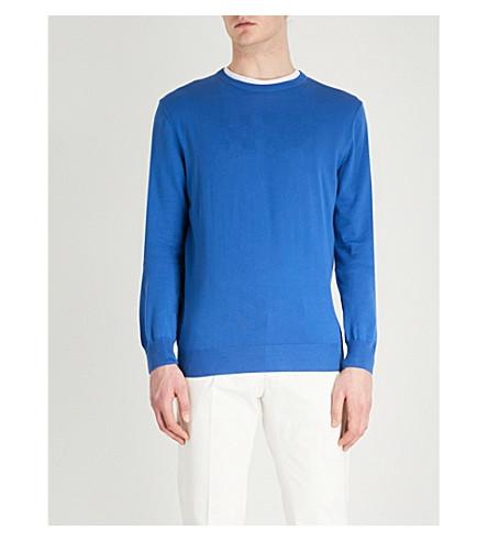 CANALI Crewneck waffle-knit cotton jumper (Blue