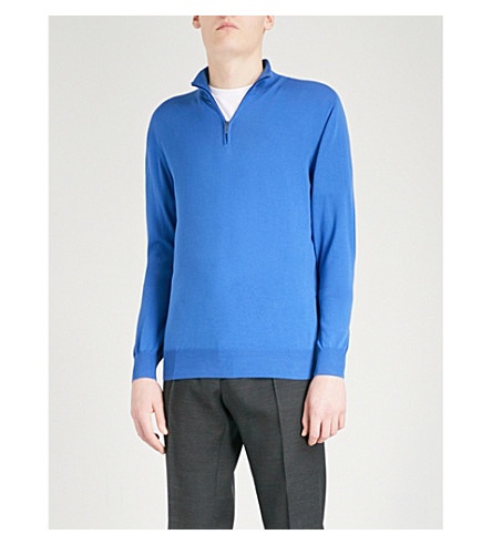 CANALI Zip-up knitted cotton jumper (Blue