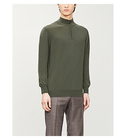 CANALI Zip-up knitted cotton jumper