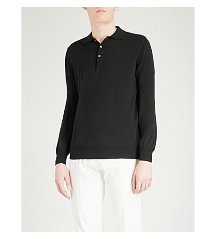 CANALI Knitted cotton polo shirt (Black