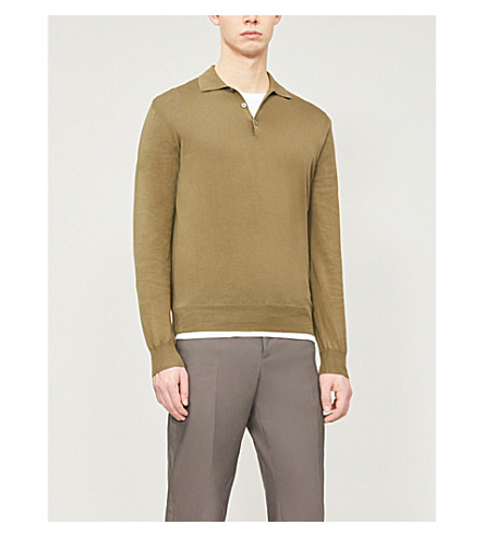 CANALI Knitted cotton polo shirt (Green