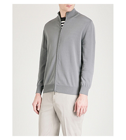 CANALI Stand-collar cotton jacket (Grey