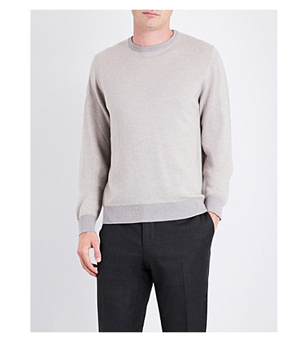 CANALI Bird's eye-patterned cashmere jumper (Blue