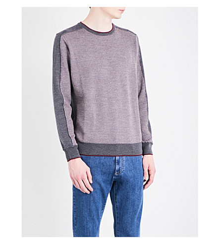 CANALI Birdseye knitted wool jumper (Grey