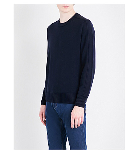 CANALI Suede patch-detail wool jumper (Navy