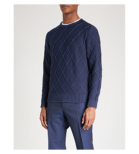 CANALI Patterned cable-knit cotton jumper (Blue