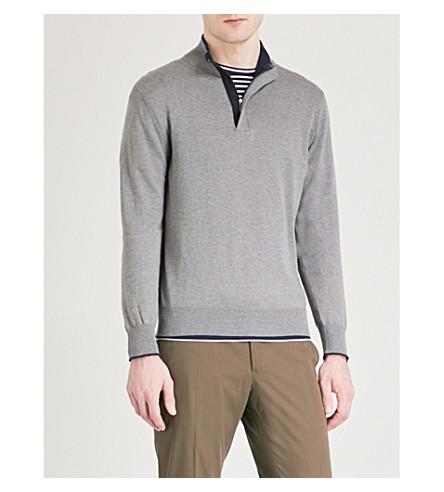 CANALI Suede-trim cotton jumper (Grey/navy