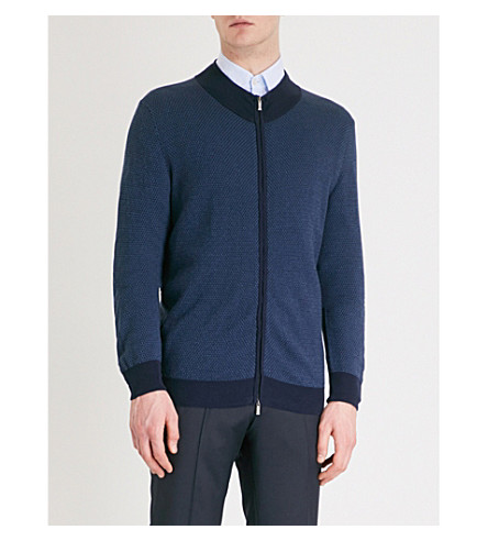 CANALI Patterned knitted jumper (Navy