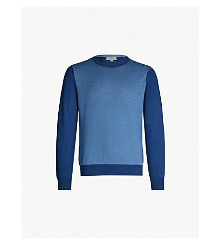 CANALI Geometric intarsia cotton sweater (Blue