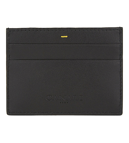 CANALI Leather card holder (Black