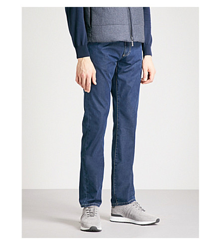 CANALI Washed regular-fit straight-leg jeans (Dark+wash