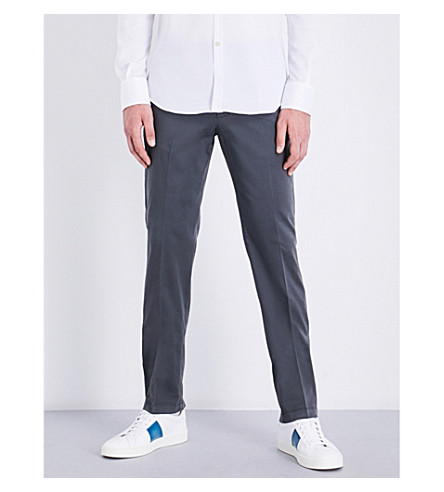 CANALI Regular-fit stretch-cotton chinos (Grey