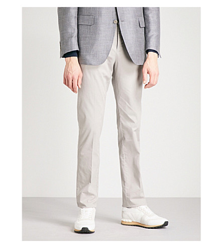 CANALI Textured stretch-cotton trousers (Beige
