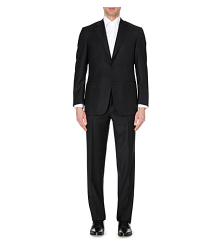 CANALI Black wool-twill suit (Black