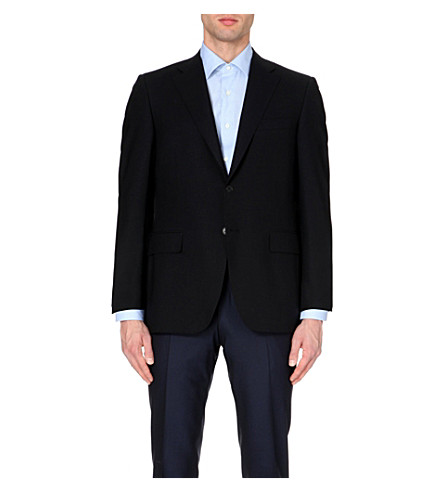 CANALI Single-breasted wool jacket (Navy