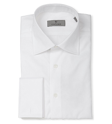 CANALI Modern-fit double-cuff cotton twill shirt (White