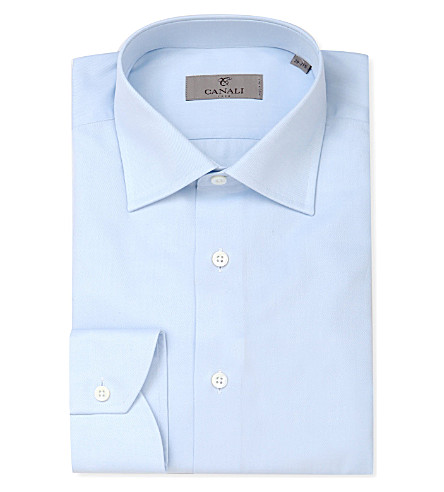 CANALI Modern-fit cotton-twill shirt (Blue