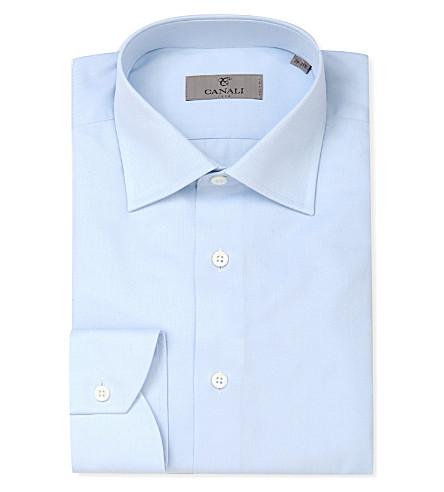 CANALI Modern-fit cotton-twill shirt (Blue