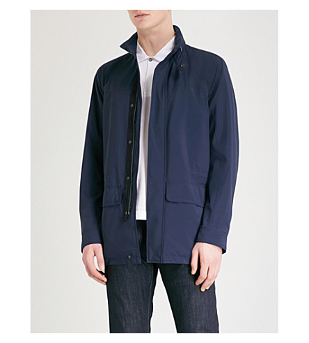 CANALI Concealed hood shell field jacket (Navy