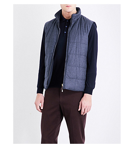 CANALI Houndstooth wool gilet (Blue+2