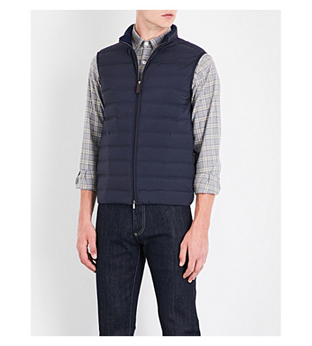 CANALI Stand-collar quilted shell gilet (Blue
