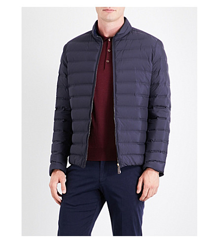 CANALI Stand-collar quilted jacket (Blue