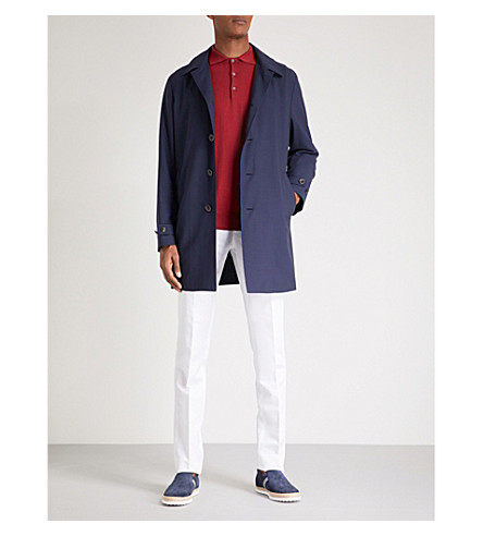 CANALI Detachable hood wool-shell raincoat (Navy