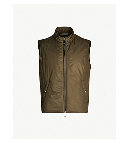 CANALI Lightweight shell gilet (Green